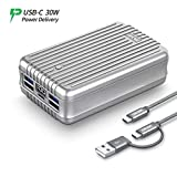 Zendure A8PD 26800mAh USB-C Portable Charger - 30W PD Power Bank (2 in 1 Cable, LED Digital Screen), 5-Port Quick Charge External Battery for iPhone X, Nintendo Switch, Samsung S9 and More - Silver