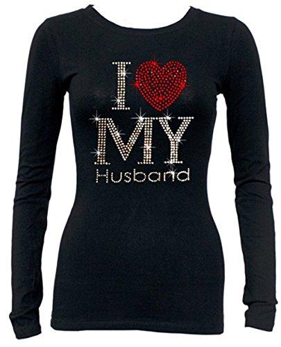 - I Love My Husband Rhinestone Long Sleeves T-Shirt Juniors S-3XL (L (Juniors), Black)