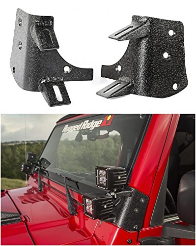 Dual Light LED A-Pillar Mount Bracket for Jeep Wrangler TJ/ LJ 1997-2006 SE, Sport, Sahara, LJ, -