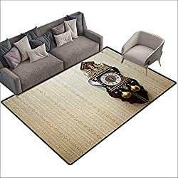 Bedroom Floor mat Clock an Antique Style Wood Carving Clock with Roman Numerals Hanging on The Wall Design W79 xL94 Suitable for Bedroom, Living Room, Games Room, Foyer or Dining Room