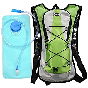 Hydration Pack with 2L Backpack Water Bladder for Hiking Running Biking Color Green