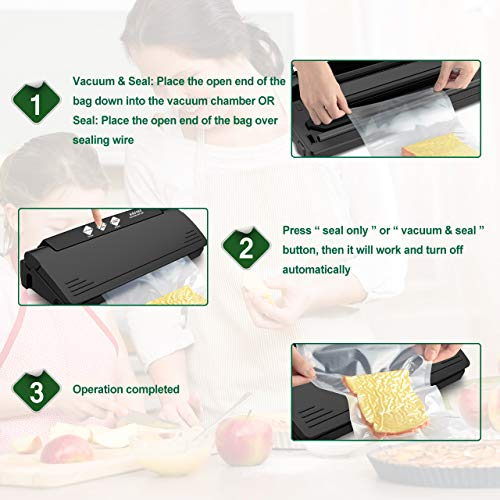 XProject Vacuum Sealer Machine Multifunction Automatic Sealing System with 10 Sealing Bags, Multi-Use Vacuum Sealing Packing System, Dry & Moist Mode for Food Savers & Sous Vide by XProject (Image #2)