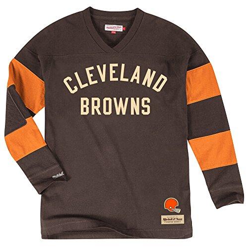 Cleveland Browns Field Goal Long Sleeve T-Shirt, NFL Mens Throwback Longsleeve Tee Shirt (L)
