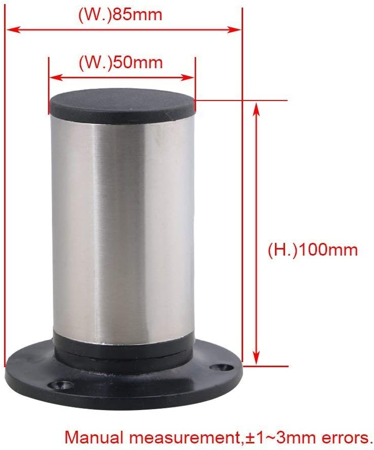 4PCS 100mm Height Round Adjustable Kithchen Feet Stainless Steel Cabinet Furniture Leg