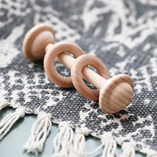 2pc Set Wooden Teether Rattle Toys Beech Wood Teething Ring Montessori Bird Shape Grasping Toddler Toys
