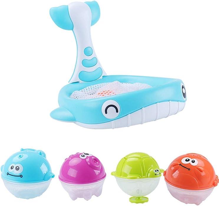 997e1c9395f8 Juguetes para niños Regalo del día de los niños Cebbay Baño de bebé  Flotante Suave Goma Animales Agua Bañera Juguete Squirts Spoon-Net 1 Juego