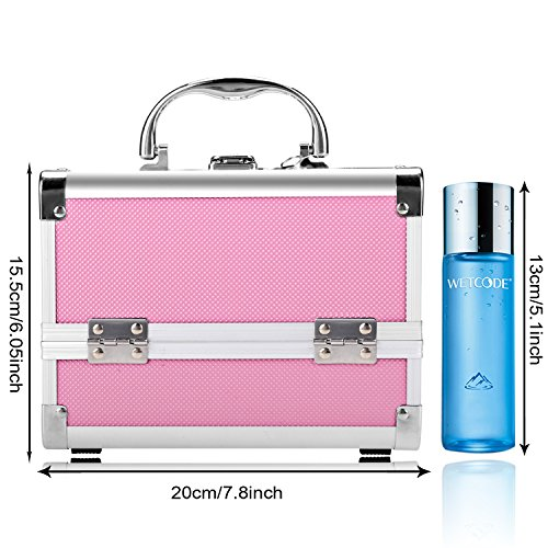 Bazal Small Makeup Train Case Travel Makeup Box for Girls Women Aluminum Cosmetic Box Jewelry Box with Mirror + 2 Keys, 7.8 x 6.05 x 6.05inch, Pink by Bazal (Image #6)