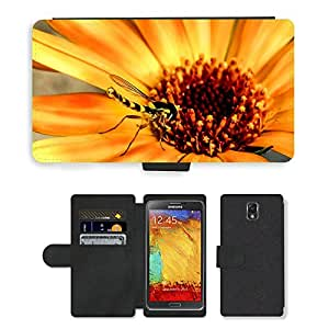 CARD POCKET BOOK CASE PU LEATHER CASE // M00147109 Flores Insecto Mosca Hoverfly Cerrar // Samsung Galaxy Note 3 III N9000 N9002 N9005