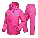 LAXF- Two-story Rain Suit for Men and Women Reusable Rainwear (Rain Jacket And Rain Pants Set) Adults Waterproof Rainproof Windproof Hooded Outdoor Work Motorcycle Golf Fishing Hiking Hunting Grid Lin