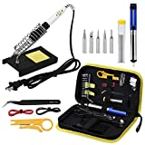 Heyue Superb 14 Pieces Set Adjustable Temperature Soldering Iron Gun Kit 60w - 110v - Best for Small Electric Work and Welding. 5 Bonus Tips in Various Sizes + Bonus Solder Wire + Stand]