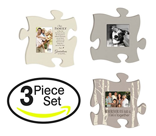 - P. GRAHAM DUNN Wherever Our Path Leads Family of Love Puzzle Piece Interlocking Wall Plaque Photo Frames Set of 3