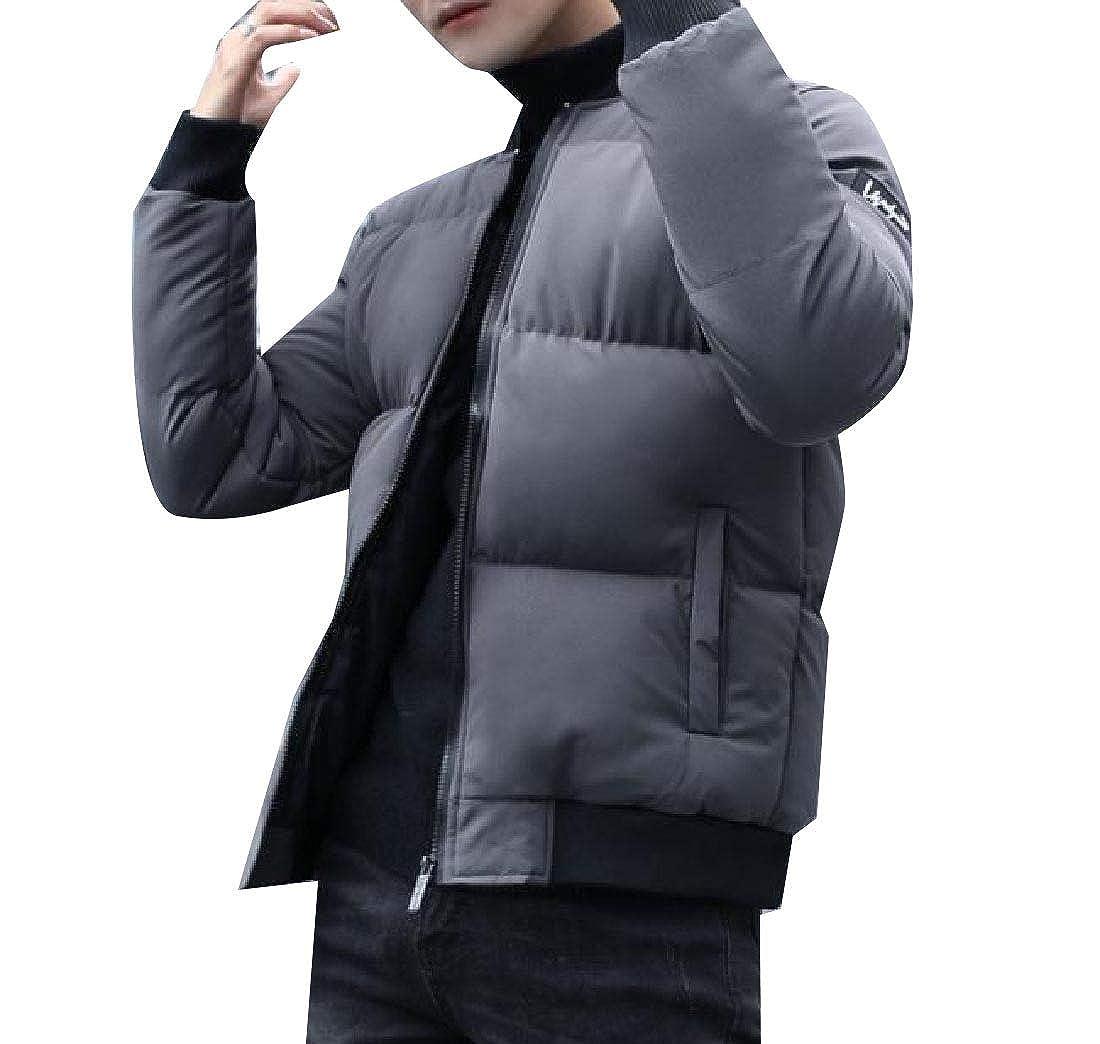 YUNY Men with Zips Warm Slim Fit Casual Thicken Parka Jacket Coat Outwear Grey S