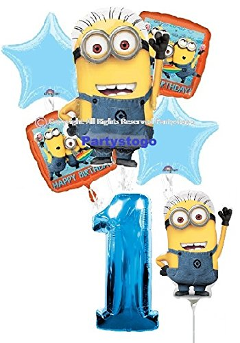 DESPICABLE ME MINIONS 1ST BIRTHDAY BALLOONS WITH MINI SHAPE BIRTHDAY PARTY BALLOONS BOUQUET DECORATIONS SUPPLIES BLUE NUMBER 1 ()