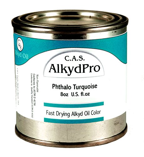 C.A.S. Paints AlkydPro Fast-Drying Oil Color Paint Can, 8-Ounce, Phthalo Turquoise