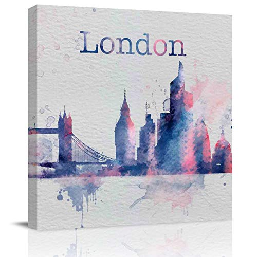Square Canvas Wall Art Oil Painting Pictures for Wall Decor,London-Style Architecture in a Watercolor Style Artworks for Office Hote Home,Stretched by Wooden Frame,Ready to Hang,8x8 Inch]()
