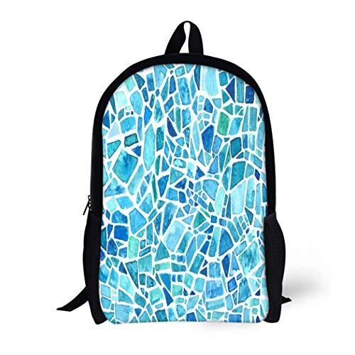 Pinbeam Backpack Travel Daypack Mosaic Blue Kaleidoscope Watercolor Geometric Pattern Stained Glass Waterproof School ()