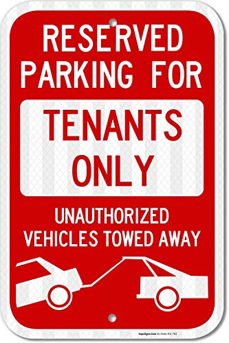 (Reserved Parking Sign, Tenants Parking Only Sign, No Parking 12x18 3M Reflective (EGP) Rust Free .63 Aluminum, Easy to Mount Weather Resistant Long Lasting Ink, Made in USA by SIGO Sign)