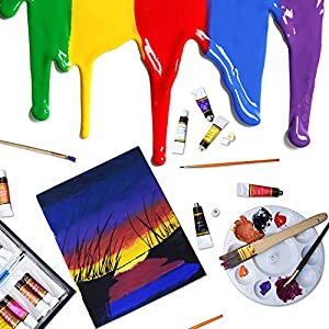 Acrylic paint Set 24 Colours by Crafts 4 ALL Perfect For Canvas, Wood, Ceramic, Fabric. Non toxic & Vibrant Colors. Rich Pigments Lasting Quality For Beginners, Students & Professional Artist