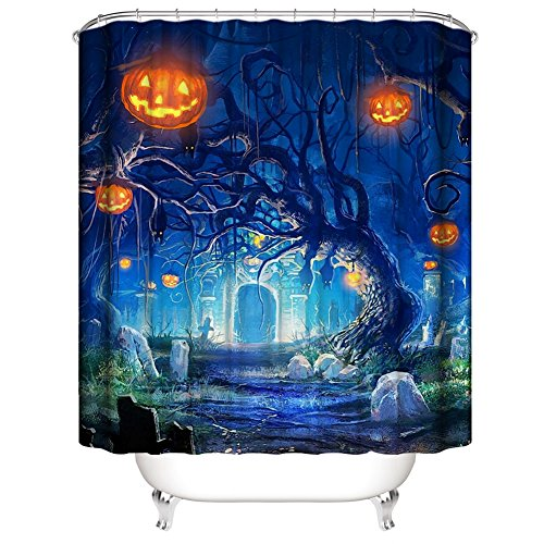 Muuyi Happy Halloween Shower Curtain, Cat Spider Owl Bat Tree Cemetery Design All Saints Day Pumpkin Day Image, Waterproof Polyester Fabric Bathroom Shower Curtains Set with Hooks - 72×72 -
