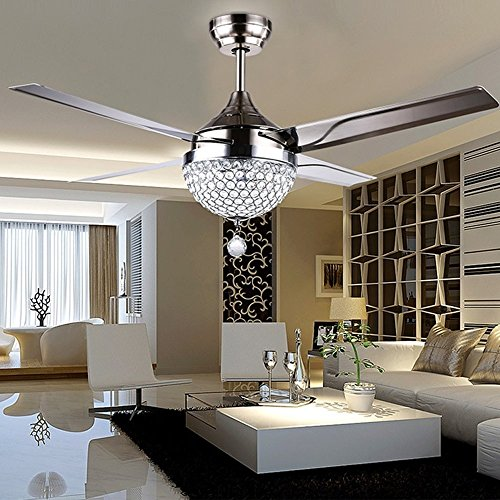 Tropicalfan Crystal Modern Ceiling Fan Remote Control Home Decoration Living Room Dinner Room Simple Modern LED Mute Electric Fan Chandeliers 4 Stainless Steel Blades 44 Inch