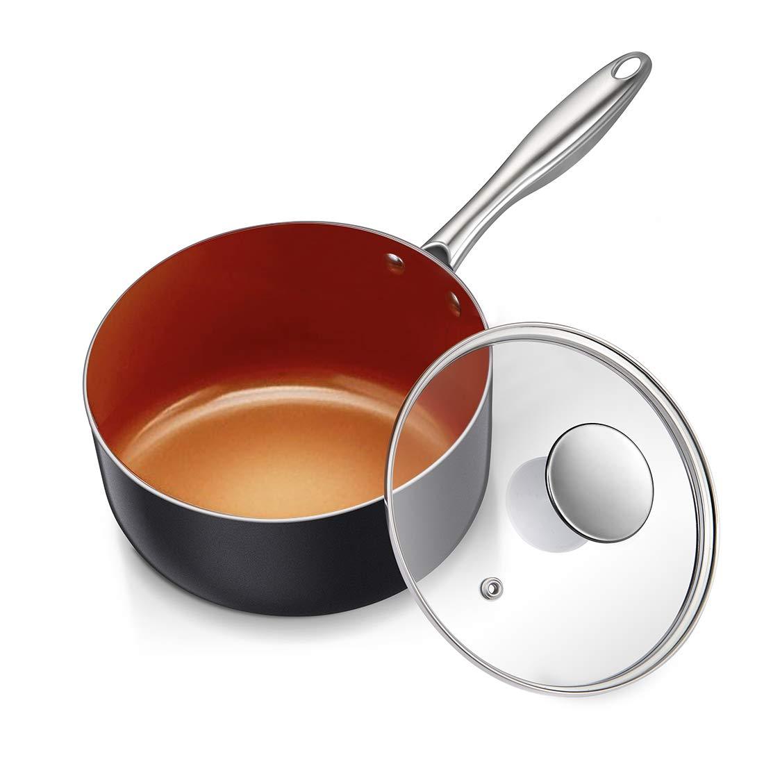 MICHELANGELO 3 Quart Sauce Pan with Ultra Nonstick Ceramic Titanium Coating, Nonstick Saucepan with Lid, Copper Saucepan, Ceramic Sauce pan, 3Qt Saucepan with Lid, Small Sauce Pot, Copper Pot - 3 Qt by MICHELANGELO