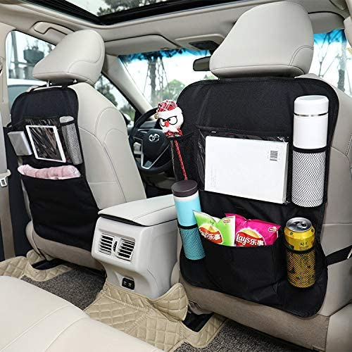 Durable Collapsible Waterproof Car Back Seat Organiser for back seat storage bag with Clear Screen Tablet Holder ODSPTER 2 pack Car Seat Organiser Black