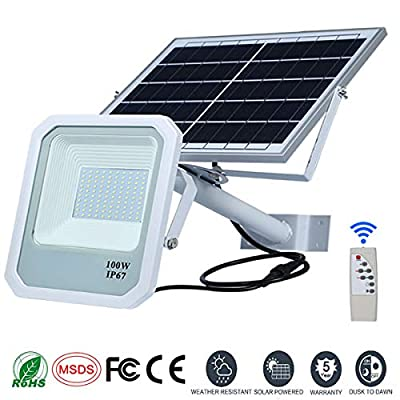 Solar Flood Lights,Street Flood Lighting, 10000 Lumens Outdoor IP67 Waterproof with Remote Control Sensing Auto On/Off for Yard, Garden, Billboard, Swimming Pool, Basketball Court (100Watt)