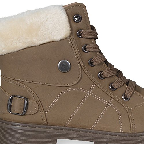 NEW WOMENS LADIES FAUX FUR LACE UP GRIP SOLE WINTER SNOW ANKLE BOOTS SIZE 3-8 Kahki 6zO2Mz