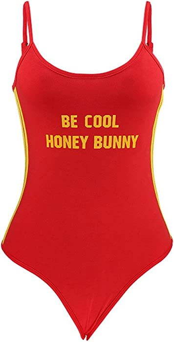 6d21143a LUOEM Women Ladies Ribbed Scoop-Neck Bodysuit Snap Crotch Be Cool Honey  Bunny Printed Seamless Jumpsuit Size L(Red): Amazon.co.uk: Clothing