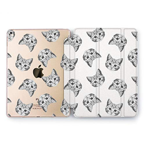 Wonder Wild Cat Pattern New iPad Case 9.7 inch Mini 1 2 3 4 Air 2 10.5 12.9 2018 2017 Cover Animal Print Simple Plastic Flip Protective Case Trifold Stand Feather Monochrome Sequence Minimalism