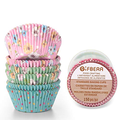Gifbera Elegance Floral Standard Cupcake Liners Pink/Green/Blue Theme, Flower Decorate Paper Baking Muffin Cups, 150-Count