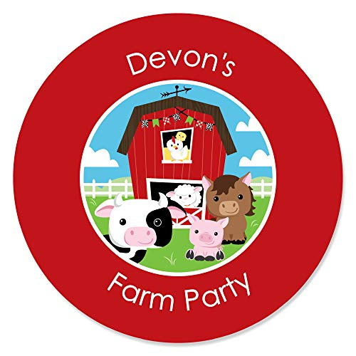 Custom Farm Animals - Personalized Baby Shower or Birthday Party Circle Sticker Labels - 24 Count