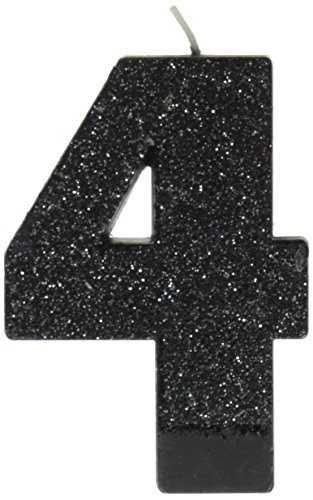 Amscan #4 Glitter Birthday Candle | Black | Party Supply
