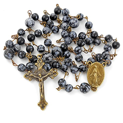 Snowflake Obsidian Rosary with Miraculous Medal, includes Gift - Skin Colours Cool Tone