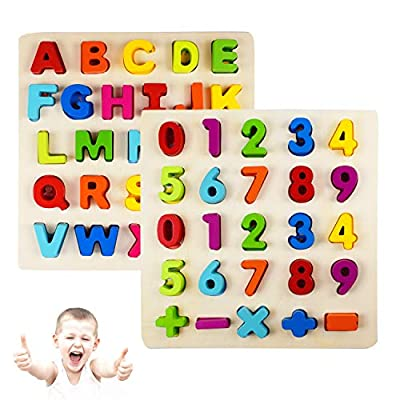 Supkiir Alphabet Number Puzzle, Wooden Pattern Learning Letters for Kids, Colorful ABC&123 Chunky Blocks Educational Toys for Boys and Girls: Toys & Games
