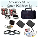 Accessory Starter Package For Canon EOS Rebel T3 T5 1100D 1200D Kiss X50 With Gadget Bag, 58mm Filter and Close-Up Set, 2 High Capacity Canon Replacement LP-E10 LPE10, Opteka 2.2x Telephoto Lens, Opteka .45x Wide Angle Lens and More!