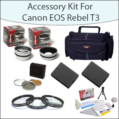 Accessory Starter Package For Canon EOS Rebel T3 T5 1100D 1200D Kiss X50 With Gadget Bag, 58mm Filter and Close-Up Set, 2 High Capacity Canon Replacement LP-E10 LPE10, Opteka 2.2x Telephoto Lens, Opteka .45x Wide Angle Lens and More! by 47th Street Photo