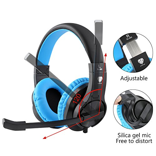 BlueFire 3.5mm PS4 Gaming Headset Bass Stereo Over-Ear Gaming Headphone with Microphone and Volume Control Compatible with PS4, New Xbox One, Xbox One S, Xbox One X, Nintendo Switch, PC(Blue)