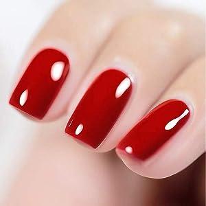 MEMEDA Gel Nail Polish, UV Nail Lacquer, Red Nail Polish,With Led Lamp 0.5 fl oz