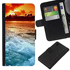 KingStore / Leather Etui en cuir / Sony Xperia Z1 L39 / Sunset Beautiful Nature 103