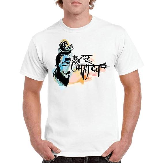 a6ab63133 QUVYARTS Men s T-Shirt Half Sleeve Har Har Mahadev Print T Shirt for Men  Mahadev Shiv Shiva Shivji Bam ...