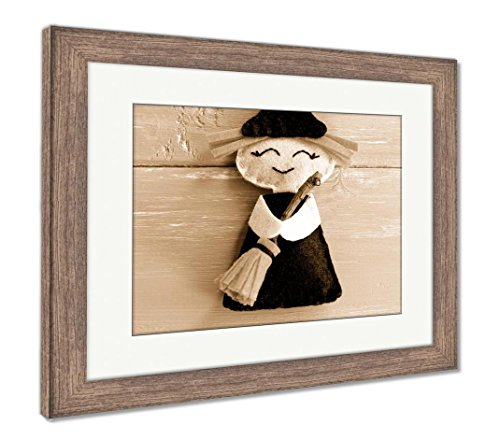 Ashley Framed Prints Funny Felt Witch Toy Isolated On Purple Wooden Halloween Crafts Idea for Kids, Wall Art Home Decoration, Sepia, 30x35 (Frame Size), Rustic Barn Wood Frame, AG6079252 ()
