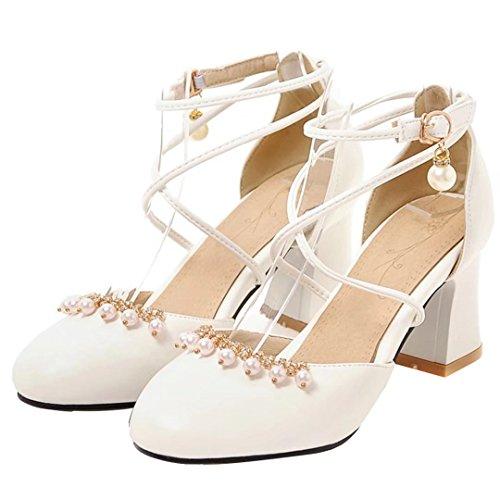 AIYOUMEI Damen Knöchelriemchen Pumps mit Perle und Strass Blockabsatz Chunky Heel Schuhe Weiß