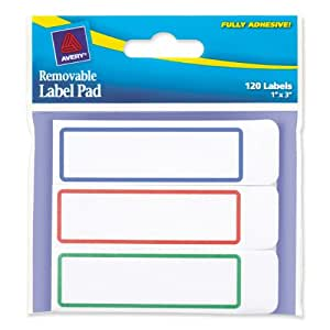 Avery Removable Label Pad, 1 x 3 Inches, Assorted Borders, 120 Labels (22013)