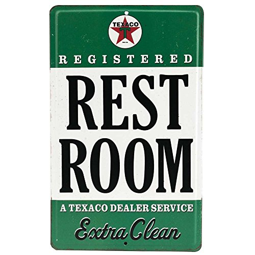 Embossed Sign - Open Road Brands - Vintage Retro Metal Tin Signs - Embossed Texaco Rest Room Sign - for Gas Stations, Diner Art, Man Caves, and Garage Décor