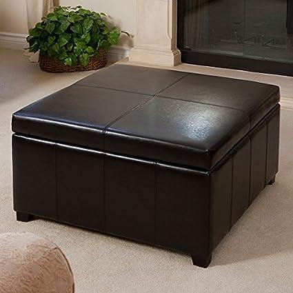 Fine Amazon Com Forrester Espresso Bonded Leather Square Storage Cjindustries Chair Design For Home Cjindustriesco