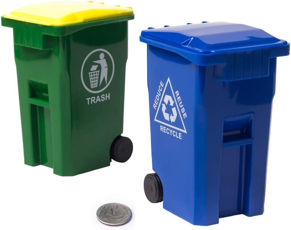 Wiosi Mini Curbside Garbage Trash Bin Pen Holder and Unique Tiny Size Recycle Can Set Pencil Cup Desktop Organizer Green Blue 2-Pack