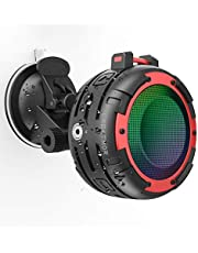 Shower Speaker,IPX68 Portable Speaker Bluetooth waterproof CREATMOR 12H Playtime Waterproof Bluetooth Wireless Speaker with 4 LED Light Modes, Built in Mic, Super Bass and HD Sound,for Outdoor Bike, Beach, Pool and Bathroom speaker
