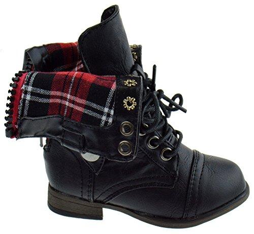 Legend 8KA Girls Stretch side Foldable Combat Boots