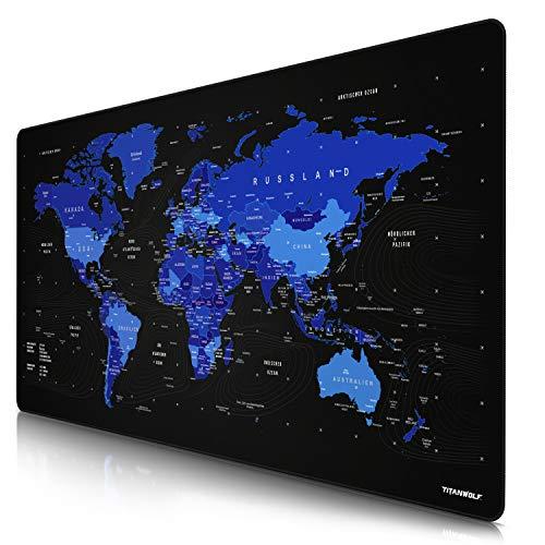 CSL - Übergröße DEUTSCHES Layout Titanwolf Mauspad 1200x600mm Weltkarte - XXXL Mousepad groß mit Motiv - Tischunterlage Large Size - XXL Gaming z.B. für Logitech Maus und Tastatur - blau